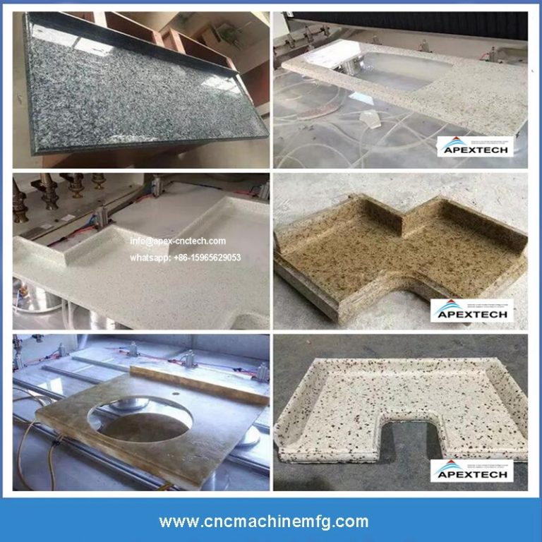 CNC machining center is used for cutting and polishing stone such as cabinets artificial stone, quartz stone countertops, granite, marble and sink