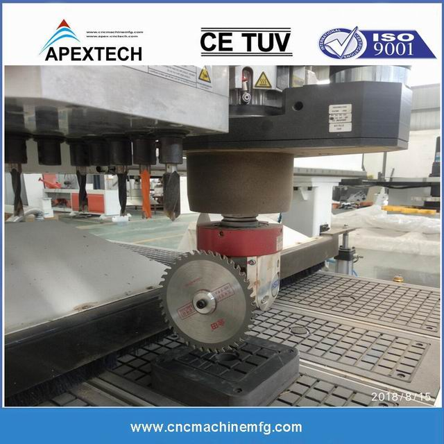 4 Axis CNC wood router with ATC system is used for multiple hinge routing and facklock side latch drilling side slot milling, drilling on keyhole