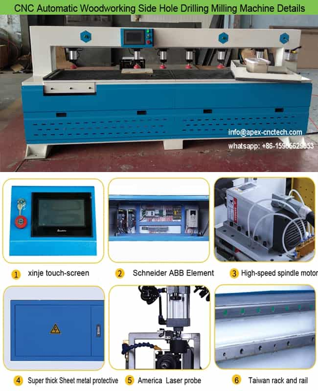 Double Spindles CNC Automatic Woodworking Side Hole Drilling Boring and Milling Machine