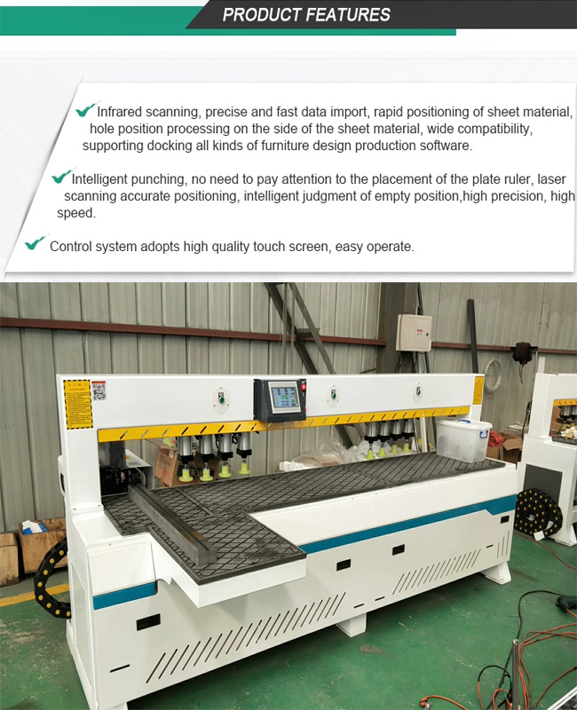 Single Spindle CNC Side Drilling Machine for panel furniture ,door,kitchen cabinet door and other wood product