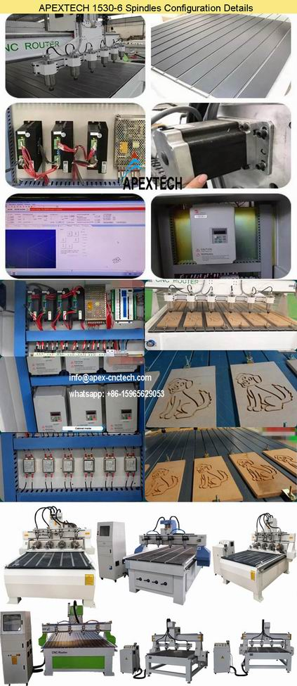 1530-6 Spindles Acrylic Wood MDF 3D CNC Router Machine for Woodworking Furniture Door