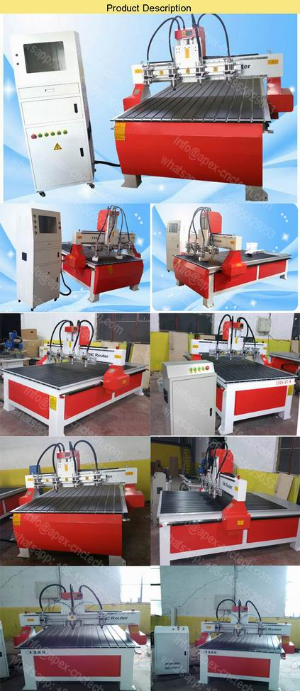 CNC Router Machine 3 Axis Furniture Making cheap price 3D Wood Relief-Carving 1325-CNC Router 4 Head details