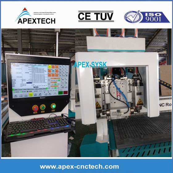Multi Process Equipment 1530-3 Spindles Pneumatic Woodworking CNC Router Machine