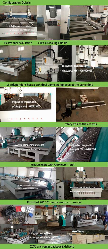 20302 Horizontal wood cnc machines 2 spindles cutting machine router for woodworking