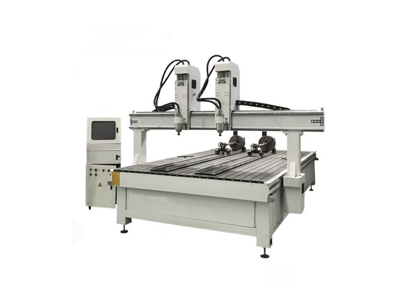 4 axis Multi-head 2030-2 spindles CNC Router with Rotary Device