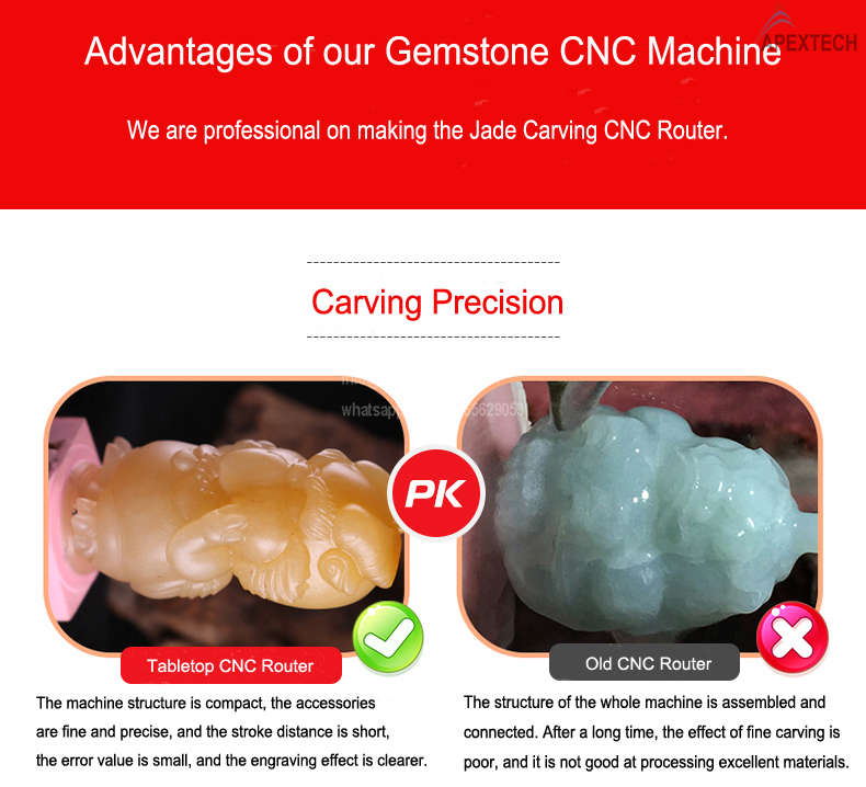 4 axis small cnc machine on carving gemstone