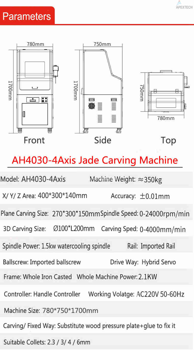 AH 4030-4 Axis CNC Stone Embroidery Machine Router